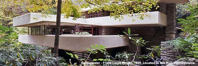 Fallingwater - Frank Lloyd Wright, 1935. Located in Mill Run, Pennsylvania.